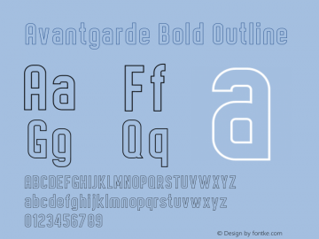 Avantgarde Bold Outline Version 1.002;Fontself Maker 3.3.0图片样张
