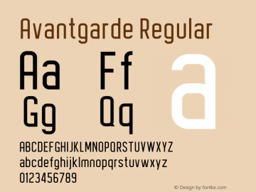 Avantgarde Version 1.002;Fontself Maker 3.3.0图片样张
