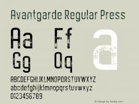 Avantgarde Regular Press Version 1.002;Fontself Maker 3.3.0图片样张