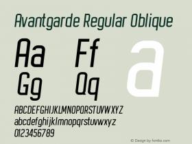 Avantgarde Regular Oblique Version 1.002;Fontself Maker 3.3.0图片样张