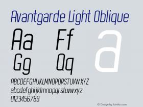 Avantgarde Light Oblique Version 1.002;Fontself Maker 3.3.0图片样张