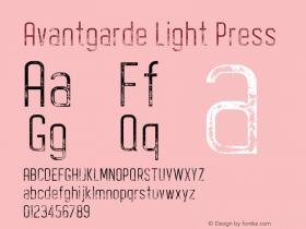 Avantgarde Light Press Version 1.002;Fontself Maker 3.3.0图片样张