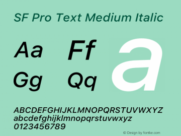 SF Pro Text Medium Italic Version 16.0d9e1图片样张