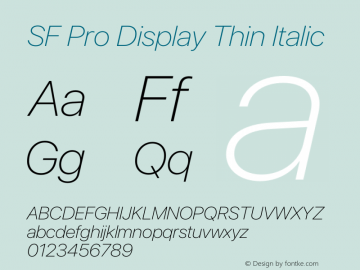 SF Pro Display Thin Italic Version 16.0d9e1图片样张