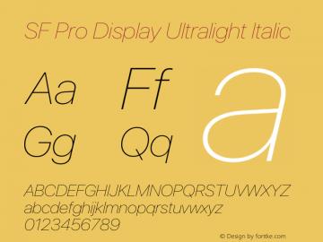 SF Pro Display Ultralight Italic Version 16.0d9e1图片样张