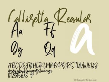 Calliretta Version 1.00;July 27, 2020;FontCreator 12.0.0.2567 32-bit图片样张