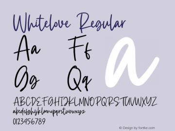 Whitelove Version 1.00;July 27, 2020;FontCreator 12.0.0.2567 32-bit图片样张