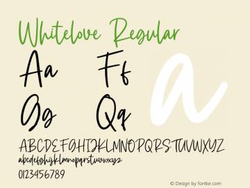 Whitelove Version 1.00;July 27, 2020;FontCreator 12.0.0.2567 32-bit图片样张