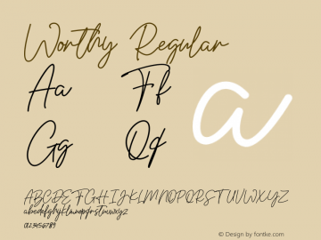 Worthy Version 1.00;July 18, 2020;FontCreator 13.0.0.2648 32-bit图片样张