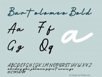 Bartolomeo Bold Version 1.00;July 27, 2020;FontCreator 13.0.0.2613 64-bit图片样张