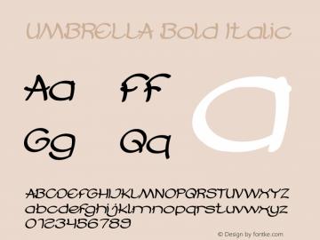 UMBRELLA Bold Italic Version 1.00;October 17, 2019;FontCreator 11.5.0.2430 64-bit图片样张