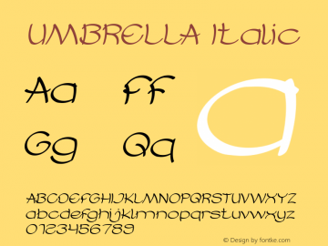 UMBRELLA Italic Version 1.00;October 17, 2019;FontCreator 11.5.0.2430 64-bit图片样张