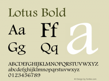 Lotus Bold Macromedia Fontographer 4.1 16/09/97 Font Sample