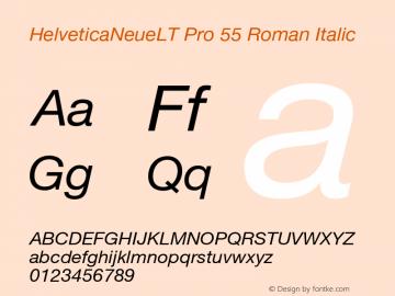 HelveticaNeueLT Pro 55 Roman Italic Version 1.000;PS 001.000;Core 1.0.38 Font Sample