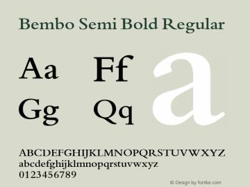 Bembo Semi Bold Regular 001 ; November 1992 ; Classic Set. Font Sample