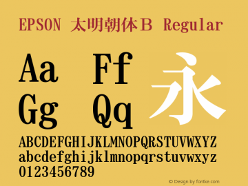 EPSON 太明朝体B Regular Version 3.00图片样张