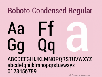 Roboto Condensed Regular Version 1.200311; 2013 Font Sample