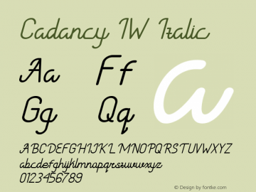 Cadancy IW Italic Version 1.000图片样张