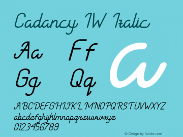 CadancyIW-Italic Version 1.000图片样张