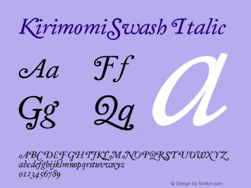 KirimomiSwash Italic Version 001.000 Font Sample