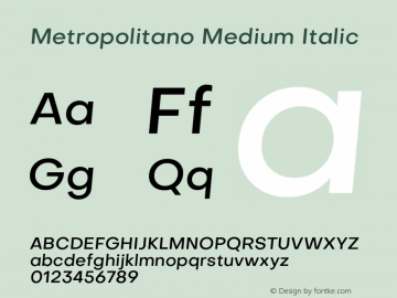 Metropolitano Medium Italic Version 1.00;August 30, 2020;FontCreator 13.0.0.2681 64-bit图片样张
