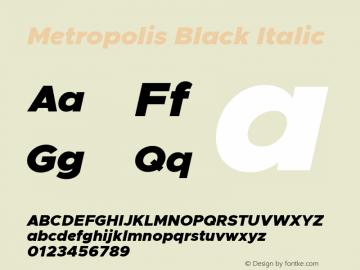 Metropolis Black Italic Version 11.000 Font Sample