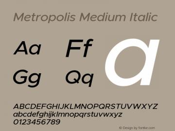 Metropolis Medium Italic Version 11.000图片样张