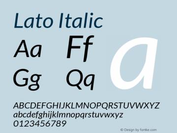 Lato Italic Version 1.104; Western+Polish opensource图片样张