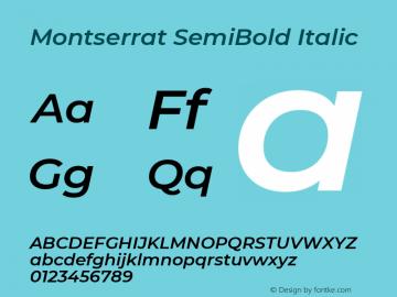 Montserrat SemiBold Italic Version 7.200 Font Sample