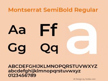 Montserrat SemiBold Version 7.200 Font Sample