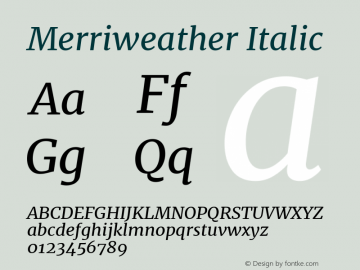 Merriweather Italic Version 2.002图片样张