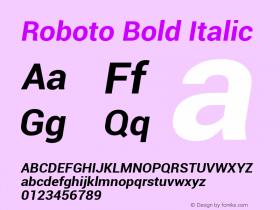 Roboto Bold Italic Version 1.00000; 2011图片样张