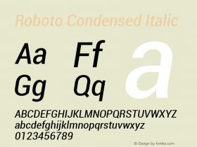 Roboto Condensed Italic Version 1.00000; 2011图片样张