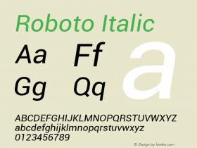 Roboto Italic Version 1.00000; 2011图片样张