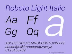 Roboto Light Italic Version 1.00000; 2011图片样张