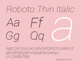 Roboto Thin Italic Version 1.00000; 2011图片样张
