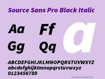 Source Sans Pro Black Italic Version 1.076;PS 2.000;hotconv 1.0.86;makeotf.lib2.5.63406图片样张