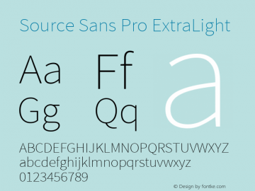 Source Sans Pro ExtraLight Regular Version 2.021;PS 2.000;hotconv 1.0.86;makeotf.lib2.5.63406图片样张