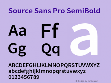 Source Sans Pro SemiBold Regular Version 2.021;PS 2.000;hotconv 1.0.86;makeotf.lib2.5.63406图片样张