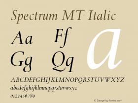 Spectrum MT Italic 001.003 Font Sample