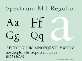 Spectrum MT Regular 001.000 Font Sample