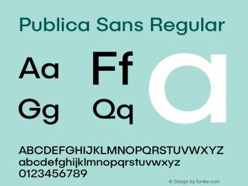 Publica Sans Version 1.00 November 21, 2016, initial release图片样张