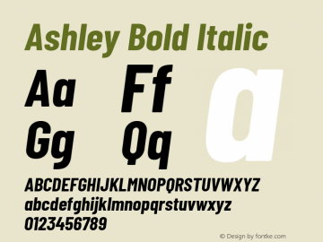 Ashley Bold Italic Version 1.101 November 20, 2017图片样张