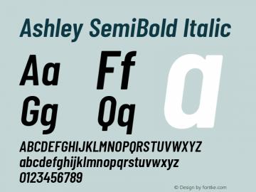 Ashley SemiBold Italic Version 1.101 November 20, 2017图片样张