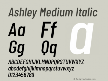 Ashley Medium Italic Version 1.101 November 20, 2017图片样张