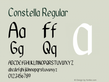 Constella Version 1.00;August 26, 2020;FontCreator 12.0.0.2525 64-bit图片样张
