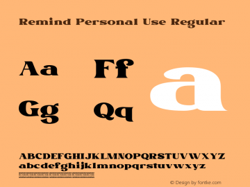Remind Personal Use Version 1.00;September 1, 2020;FontCreator 12.0.0.2567 64-bit图片样张
