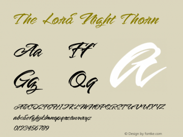 The Lord Night Thorn Version 1.00;August 19, 2020;FontCreator 12.0.0.2563 64-bit图片样张