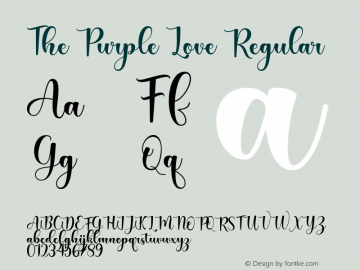 The Purple Love Version 1.00;August 19, 2020;FontCreator 12.0.0.2563 64-bit图片样张