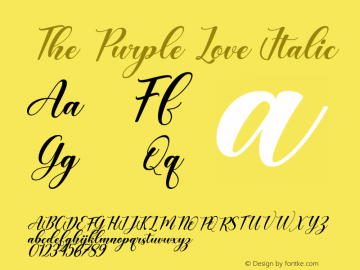 The Purple Love Italic Version 1.00;August 19, 2020;FontCreator 12.0.0.2563 64-bit图片样张